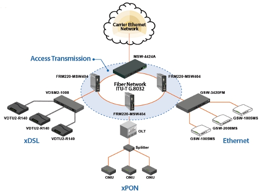 FRM220-MSW404 OAM Managed Carrier Ethernet Switch (NID) application